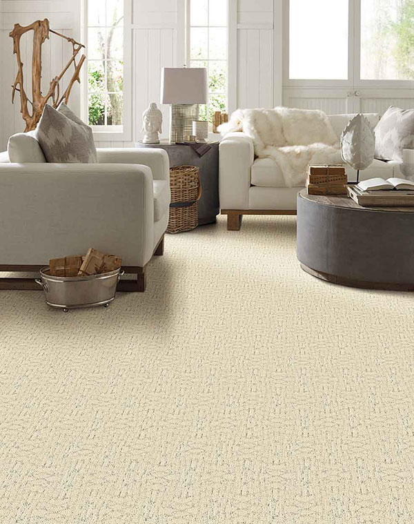 Beige carpet in white hygge styled living room