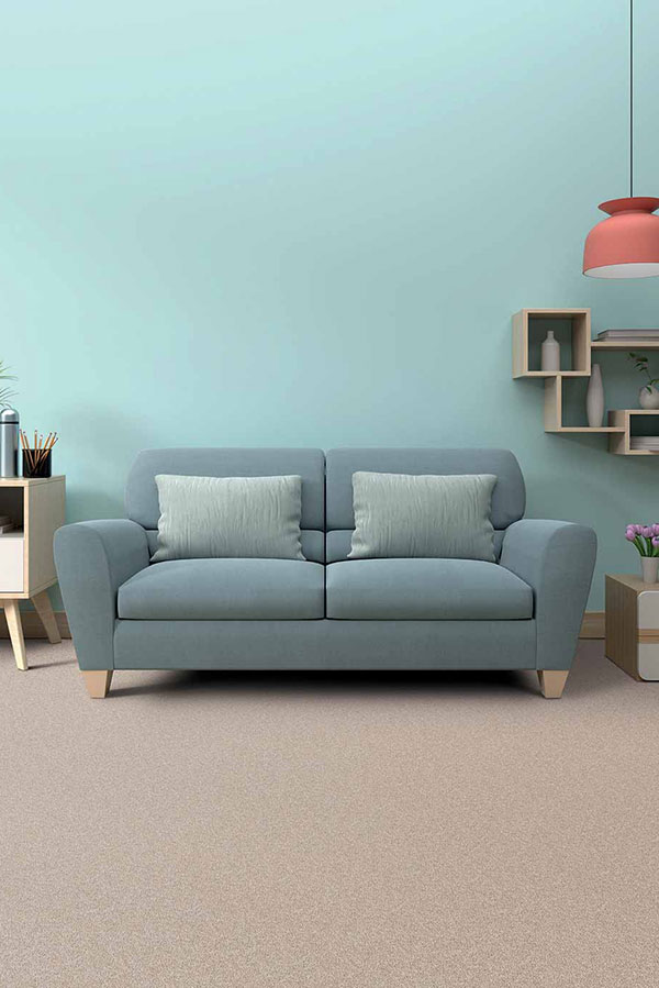 Pastel blue color incorporated in a living room wall color